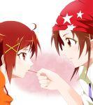 ashita_wa_hitsuji feeding fujita_akane futari_wa_precure hair_ornament highres hino_akane multiple_girls namesake precure pretty_cure red_eyes red_hair redhead short_hair smile_precure! star_print