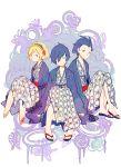aiwatan android arisato_minato blonde_hair blue_eyes blue_hair butterfly highres japanese_clothes mochizuki_ryouji persona persona_3 short_hair sitting smile