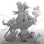 :t dress_shirt guitar hanamura_yousuke instrument kuma_(persona_4) monochrome multiple_boys narukami_yuu navel persona persona_4 school_uniform shirt sweatdrop t0kiwa tatsumi_kanji translated translation_request trembling