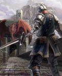 armor back bridge dark_souls dragon full_armor gauntlets hellkite_dragon helmet knight sword weapon