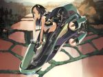 bent_over black_hair brown_eyes engine hover_bike legs letterboxed motor_vehicle original revision rice_paddy shihou_(g-o-s) short_hair smile solo thigh-highs thighhighs vehicle