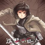 123hamster 1girl belt black_hair brown_eyes jacket mikasa_ackerman scarf shingeki_no_kyojin short_hair solo sword three-dimensional_maneuver_gear weapon