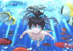 barefoot bikini black_hair blue blue_bikini blue_eyes blue_swimsuit bubble fangs fish freediving ganaha_hibiki hair_ribbon harpoon highres idolmaster jyon long_hair ocean ponytail ribbon solo swimming swimsuit tropical_fish underwater water water_surface