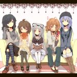 bad_id blue_eyes brown_hair doughnut hat long_hair multiple_girls nejime pantyhose red_eyes short_hair sitting