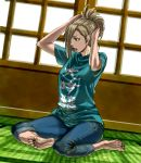 barefoot blade_of_the_immortal blonde_hair brown_eyes casual feet hyakurin long_hair s_kengo sitting solo