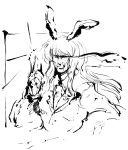 animal_ears bad_id bunny_ears genderswap lewis male monochrome moustache pointing rabbit_ears reisen_udongein_inaba solo touhou traditional_media