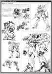 macross macross_plus mecha missile miyatake_kazutaka monochrome official_art power_armor power_suit production_art translation_request zentradi