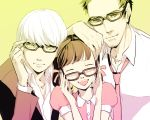 ally doujima_nanako doujima_ryoutarou father_and_daughter glasses narukami_yuu necktie persona persona_4 seta_souji twintails