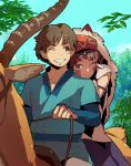 brown_eyes brown_hair chin_rest couple earrings ghibli happy hug jewelry mask mononoke_hime riding san shihou shihou_(g-o-s) short_hair smile studio_ghibli wink yakuru