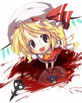 ascot bespectacled blonde_hair blood censored character_censor fang flandre_scarlet from_above glasses gundam gym_ghingnham hat hat_ribbon highres laevatein novelty_censor open_mouth pachinkasu pool_of_blood red_eyes reflection ribbon short_hair side_ponytail simple_background skirt skirt_set smile solo touhou turn_a_gundam upskirt white_background wings