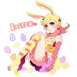 1girl animal_ears blonde_hair blue_eyes bow bunny_tail easter elbow_gloves feet gloves jojo_no_kimyou_na_bouken kisaragiyuu kneehighs long_hair lucy_steel pink_eyes polka_dot rabbit_ears shorts solo steel_ball_run tail toenail_polish