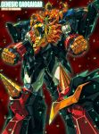 babamba character_name dated drill fangs genesic_gaogaigar light_particles long_hair mecha no_humans open_mouth orange_hair solo super_robot tail wings yuusha_ou_gaogaigar yuusha_ou_gaogaigar_final yuusha_series