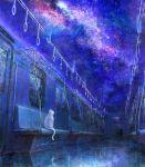 blue cat highres meteor milky_way no_humans original reflection reflective_floor sky star_(sky) starry_sky train train_interior white_cat yamahiro