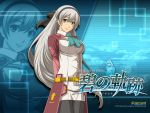 2011 ao_no_kiseki belt black_legwear blue_background bow cravat eiyuu_densetsu elie_macdowell enami_katsumi falcom green_eyes hair_bow hairband half_updo long_hair official_art pantyhose skirt smile solo title_drop uniform white_hair zero_no_kiseki zoom_layer