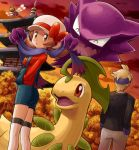 1boy 1girl autumn back bayleef blonde_hair bow brown_eyes brown_hair cloud clouds denim east_asian_architecture hat hat_bow hat_ribbon haunter headband kotone_(pokemon) looking_at_viewer matsuba_(pokemon) overalls pokemoa pokemon pokemon_(creature) pokemon_(game) pokemon_hgss red_sky ribbon scarf shorts sky sunset thigh-highs thighhighs tree twintails white_legwear yanma