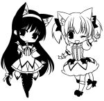 akemi_homura animal_ears blush cat_ears cat_tail chibi kaname_madoka kemonomimi_mode ko_ru_ri lowres mahou_shoujo_madoka_magica monochrome multiple_girls pantyhose simple_background smile tail white_background wink