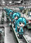 6+girls aqua_eyes aqua_hair conveyor_belt factory hatsune_miku long_hair mikudayoo multiple_girls open_mouth rxjx smile structure vocaloid