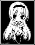 akemi_homura black_background blush chibi ko_ru_ri long_hair magical_girl mahou_shoujo_madoka_magica monochrome pantyhose simple_background solo