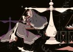 black_background black_dress brown_hair dress eiyuu_densetsu falcom hands_clasped highres hourglass jewelry long_hair necklace nun payot ries_argent shikimi_(yurakuru) solo sora_no_kiseki veil