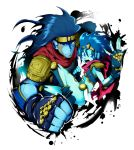 1boy 1girl blue_hair brother_and_sister clenched_hand fingerless_gloves genderswap gloves headband highres jojo_no_kimyou_na_bouken long_hair sasagawa_kureo siblings stand_(jojo) star_platinum tiara