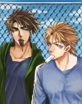 2boys bad_boy blonde_hair blue_eyes brown_hair caesar_anthonio_zeppeli contemporary facial_mark fence green_eyes hoodie jojo_no_kimyou_na_bouken joseph_joestar_(young) mouth_hold multiple_boys popsicle