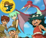 4boys blush_stickers brown_hair dinosaur fei_rune green_hair headband inazuma_eleven_(series) inazuma_eleven_go inazuma_eleven_go_chrono_stone matsukaze_tenma mizuhara_aki multiple_boys nanobana_kinako nishizono_shinsuke open_mouth pterodactyl quetzalcoatlus toobu toochan