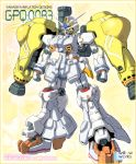 cure_sunshine fusion gundam gundam_0083 gundam_gp-02_physalis heartcatch_precure! mecha mechanization no_humans parody precure solo standing weapon yanagi_joe zoom_layer