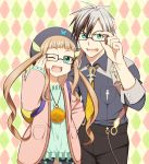 1girl ;d adjusting_glasses aqua_eyes argyle argyle_background beret bespectacled black_hair brown_hair elle_mel_martha glasses happy hat jacket jewelry long_hair ludger_will_kresnik multicolored_hair necklace necktie open_mouth shirt smile suspenders tales_of_(series) tales_of_xillia tales_of_xillia_2 twintails two-tone_hair utakata_masara white_hair wink