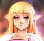 blonde_hair blue_eyes eyelashes face hime_cut lips long_hair maniacpaint nose pointy_ears portrait princess_zelda solo the_legend_of_zelda