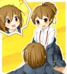 brown_eyes brown_hair faubynet highres hirasawa_ui hirasawa_yui incest k-on! pantyhose ponytail revision school_uniform short_hair siblings sisters straddle yuri