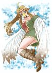 adult ahoge bare_shoulders beak blue_eyes boots breasts brown_hair chikaburo circlet cleavage dress flying knee_boots long_hair medli monster_girl panties pantyshot pointy_ears rito solo strapless_dress the_legend_of_zelda underwear upskirt white_panties wind_waker wings