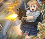 >:o blonde_girl_(itou) blonde_hair blue_eyes blurry bra bread breasts bullet bullpup cleavage depth_of_field error firing food gloves grey_legwear gun highres holding itou_(onsoku_tassha) long_hair melon_bread original p90 panties ponytail revision shirt skirt sleeves_rolled_up solo sweat thigh-highs thighhighs underwear weapon white_bra white_panties