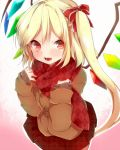 alternate_costume argyle argyle_scarf blonde_hair blush cardigan contemporary fang flandre_scarlet hair_ribbon heart long_hair looking_at_viewer no_hat no_headwear open_mouth red_eyes red_scarf ribbon scarf side_ponytail skirt smile solo takeshima_(nia) touhou unmoving_pattern wings