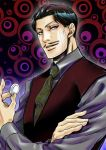 1boy daniel_d'arby facial_hair jojo_no_kimyou_na_bouken kyo-ra mustache necktie poker_chip solo tattoo vest waistcoat