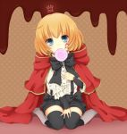 ail black_legwear blonde_hair candy cape facial_mark holding lily_(pandora_hearts) lollipop looking_at_viewer pandora_hearts polka_dot polka_dot_background short_hair sitting solo suspenders swirl_lollipop thigh-highs thighhighs wariza