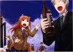 3girls :o ;o absurdres animal_ears ayakura_juu blazer blue_sky bottle brown_hair cloud clouds contemporary craft_lawrence fang formal glasses grey_hair hair_ornament hairclip highres holo long_hair multiple_boys multiple_girls necktie nora_arento open_mouth plaid plaid_skirt pleated_skirt ponytail red_eyes sake_bottle scan school_uniform sheep short_hair skirt sky spice_and_wolf suit tail tears wink wolf_ears wolf_tail