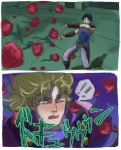 blush dio_brando fangs flower jojo_no_kimyou_na_bouken jonathan_joestar multiple_boys parody phantom_blood rose translated