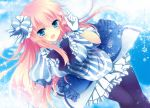 black_legwear blue_eyes blue_legwear blush bow breasts gloves hair_bow ichiyou_moka long_hair looking_at_viewer megurine_luka pantyhose pink_hair project_diva project_diva_2nd solo sparkle striped vocaloid