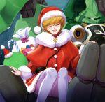 ^_^ audrey_burne christmas closed_eyes eyes_closed gacha-m gift green_eyes gundam gundam_unicorn haro hat highres kshatriya mecha orange_hair pantyhose revision sack santa_costume santa_hat