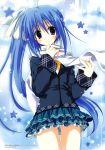 absurdres blue_hair highres huge_filesize jacket korie_riko light_smile long_hair munemoto_tsubakiko plaid ponytail purple_eyes scarf school_uniform sekai_seifuku_kanojo side_ponytail skirt solo thighhighs very_long_hair violet_eyes