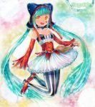 :d aqua_hair artist_name cat_food_(vocaloid) cat_hood choker detached_sleeves hatsune_miku hood long_hair marker_(medium) mayo_riyo open_mouth pantyhose pastel_(medium) project_diva project_diva_f skirt smile solo traditional_media twintails vertical-striped_legwear vertical_stripes very_long_hair vocaloid yellow_eyes
