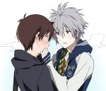 blush breath brown_hair casual highres hoodie ikari_shinji jacket male midori_kouichi nagisa_kaworu neon_genesis_evangelion red_eyes shirt short_hair smile white_hair
