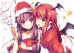 :o ;d alternate_costume bare_shoulders blue_eyes blush bow christmas collar collarbone confetti crescent hat head_wings holding koakuma long_hair looking_at_viewer multiple_girls open_mouth party_popper patchouli_knowledge pointy_ears purple_eyes purple_hair red_eyes red_hair redhead santa_costume santa_hat smile star touhou twintails violet_eyes wings wink yanagi_yuu