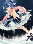 adapted_costume blue_dress blue_eyes blue_hair bow checkered_dress cirno dress forest frills hair_bow long_sleeves looking_at_viewer morinaga_kobato nature night open_mouth outstretched_arm outstretched_hand petticoat scarf shirt short_hair sky smile solo star_(sky) starry_sky touhou wings winter