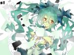 bandage bandages bespectacled glasses green_hair hatsune_miku kukunn long_hair orange_eyes solo torinoko_city_(vocaloid) twintails very_long_hair vocaloid