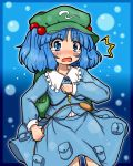 1girl backpack bag blue_eyes blue_hair blush bubble cattail eruru_(erl) frame hair_bobbles hair_ornament hat highres kawashiro_nitori long_sleeves open_mouth plant pocket shirt short_hair skirt solo surprised tears touhou twintails wavy_mouth