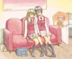 bag black_legwear blue_hair closed_eyes colored_pencil_(medium) couch dated eyes_closed green_hair hidamari_sketch hiro natsume_(hidamari_sketch) pink_hair roku-kun sae school_bag school_uniform short_hair sitting sleeping socks traditional_media ume-sensei wide_face
