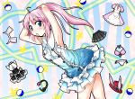 animal_ears armpits arms_up bikini blush bunny_ears dress fake_animal_ears hana hat headphones long_hair mouth_hold nibi pangya pink_hair rabbit_ears skirt solo swimsuit