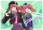 beret blazer brown_hair eiyuu_densetsu falcom fran_seeker green_background hat jacket multiple_girls necktie noel_seeker police police_uniform policewoman purple_eyes salute short_hair siblings sisters smile twintails uniform v_arms violet_eyes xiacheng_tatsuya zero_no_kiseki