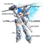 annotated armpits arms_up blue_hair blue_legwear cyber_angels_valforce densou_tenshi_valforce english flat_chest highres huge_weapon kannagi_ai karukan_(monjya) lance mecha_musume mechanical_arms one-piece_swimsuit pink_eyes polearm school_swimsuit short_hair solo swimsuit thigh-highs thighhighs thrusters weapon white_swimsuit